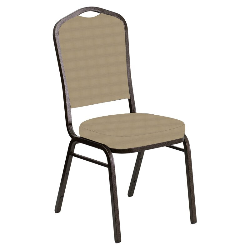 Flash Furniture Crown Back Banquet Chair in Harmony Ramie Fabric - Gold Vein Frame