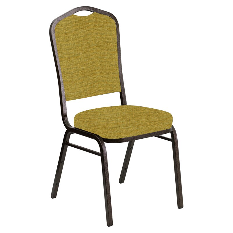 Flash Furniture Crown Back Banquet Chair in Highlands Ecru Fabric - Gold Vein Frame
