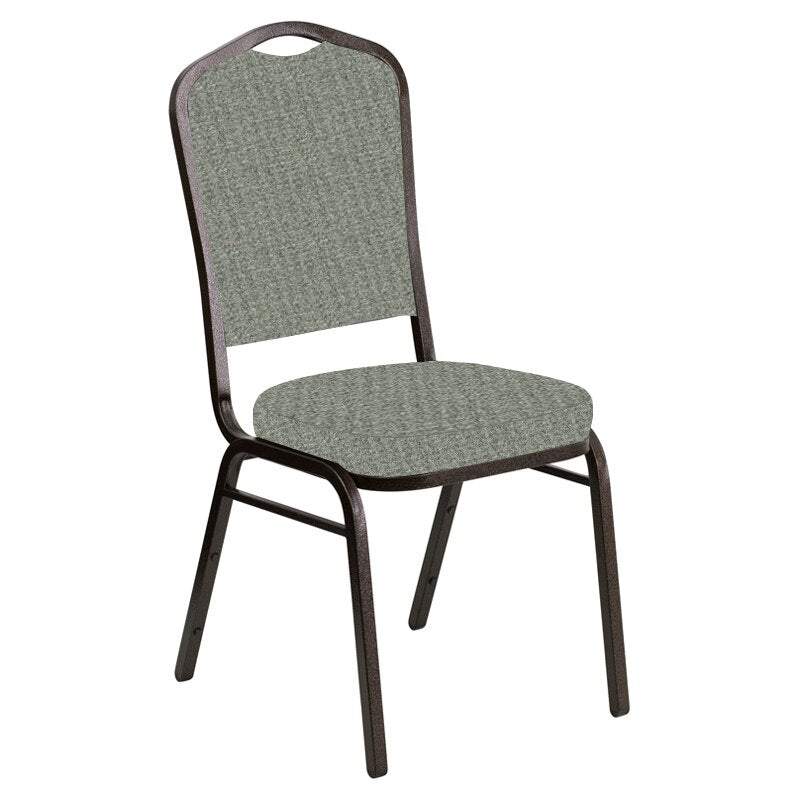 Flash Furniture Crown Back Banquet Chair in Interweave Charcoal Fabric - Gold Vein Frame