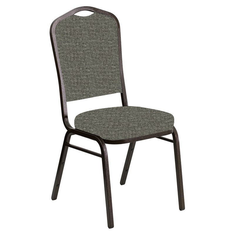Flash Furniture Crown Back Banquet Chair in Interweave Slate Fabric - Gold Vein Frame