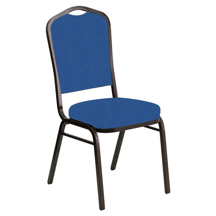 Flash Furniture Crown Back Banquet Chair in Neptune Patriot Blue Fabric - Gold Vein Frame
