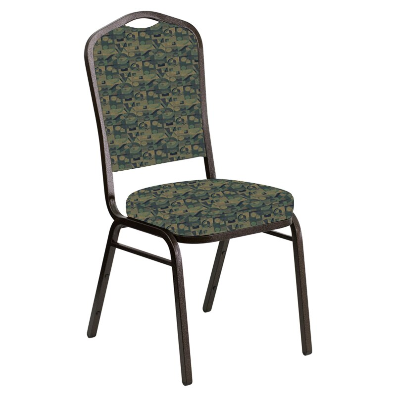 Flash Furniture Crown Back Banquet Chair in Perplex Clover Fabric - Gold Vein Frame