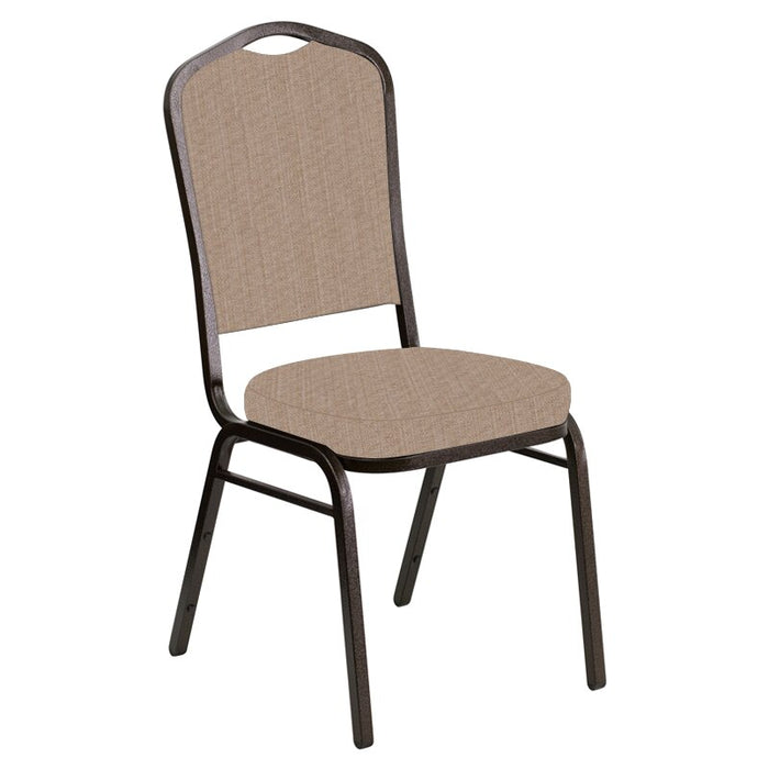 Flash Furniture Crown Back Banquet Chair in Sammie Joe Taupe Fabric - Gold Vein Frame