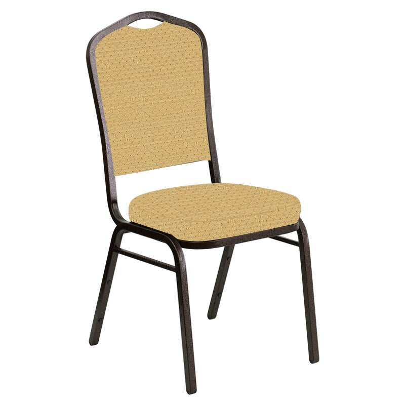 Flash Furniture Crown Back Banquet Chair in Venus Parchment Fabric - Gold Vein Frame