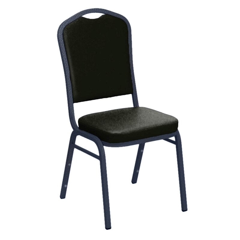 Flash Furniture E-Z Sierra Black Vinyl Upholstered Crown Back Banquet Chair - Silver Vein Frame
