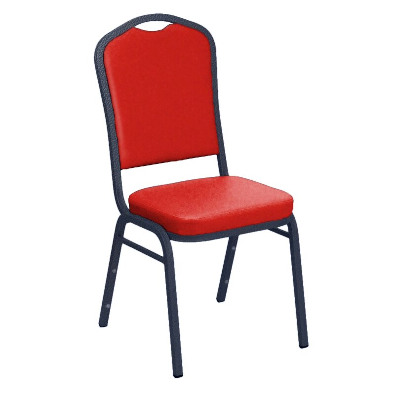 Flash Furniture E-Z Sierra Red Vinyl Upholstered Crown Back Banquet Chair - Silver Vein Frame