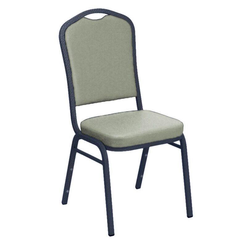 Flash Furniture E-Z Wallaby Grey Vinyl Upholstered Crown Back Banquet Chair - Silver Vein Frame