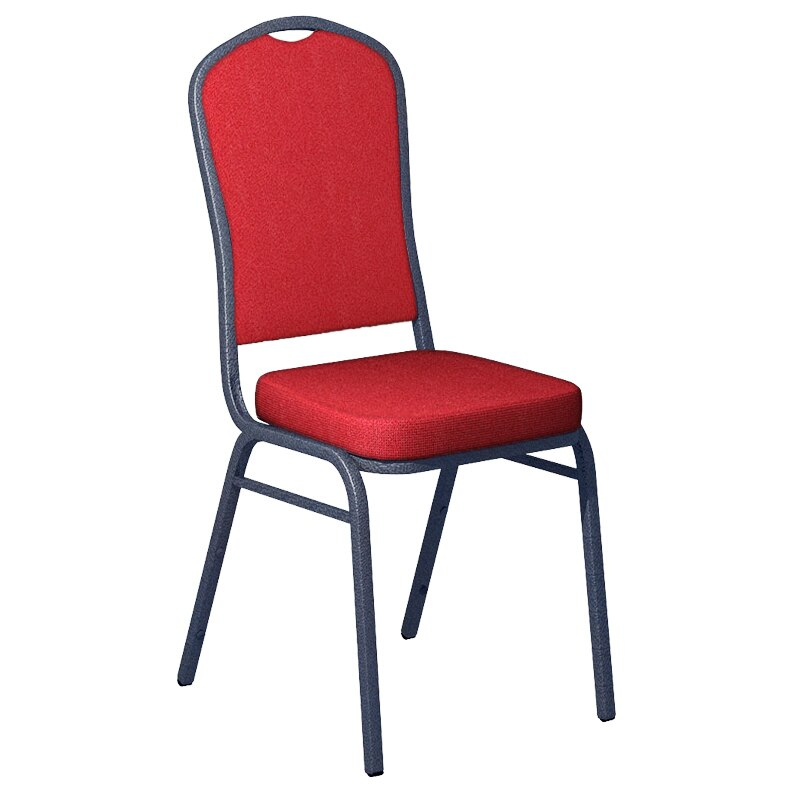 Flash Furniture Culp Montgomery Red Pepper Fabric Upholstered Crown Back Banquet Chair - Silver Vein Frame