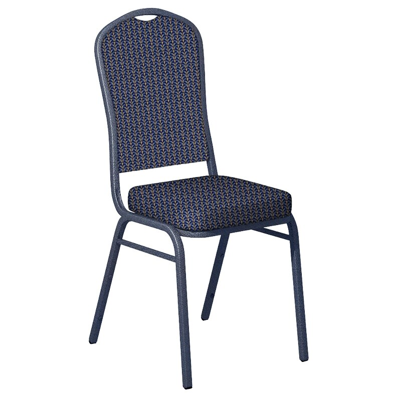 Flash Furniture Mission Blue Fabric Upholstered Crown Back Banquet Chair - Silver Vein Frame