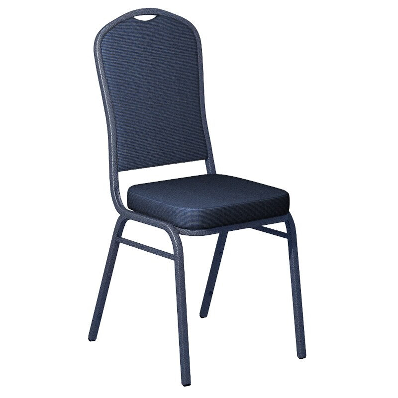 Flash Furniture Shire Tuscan Blue Fabric Upholstered Crown Back Banquet Chair - Silver Vein Frame