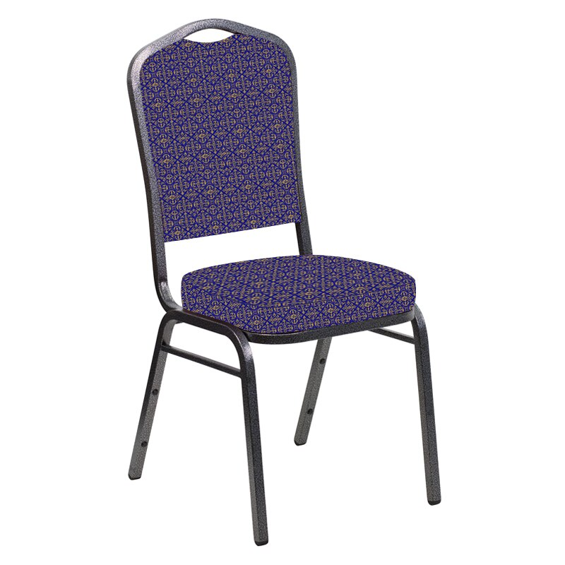 Flash Furniture Crown Back Banquet Chair in Abbey Jazz Fabric - Silver Vein Frame