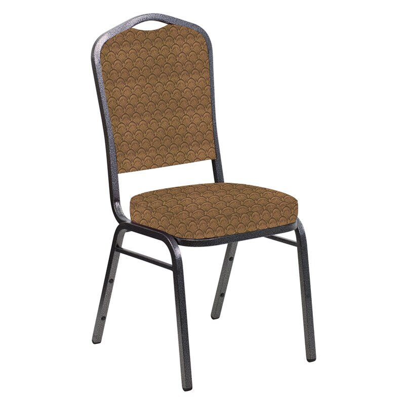 Flash Furniture Crown Back Banquet Chair in Arches Oak Fabric - Silver Vein Frame