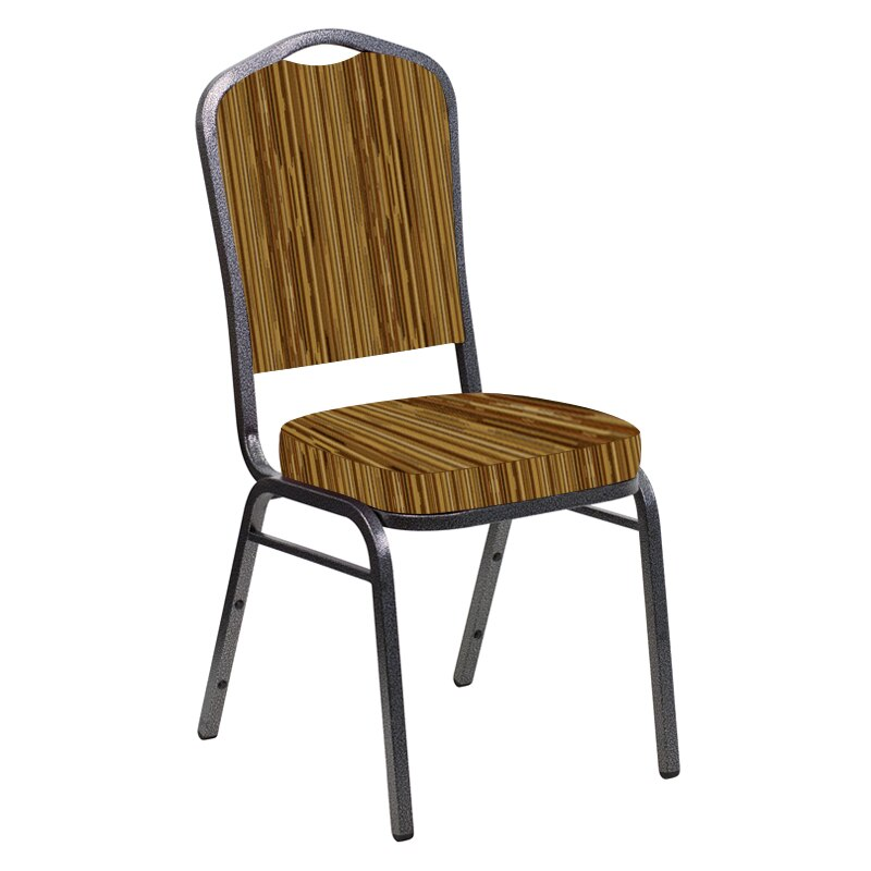 Flash Furniture Crown Back Banquet Chair in Canyon Mojave Gold Fabric - Silver Vein Frame