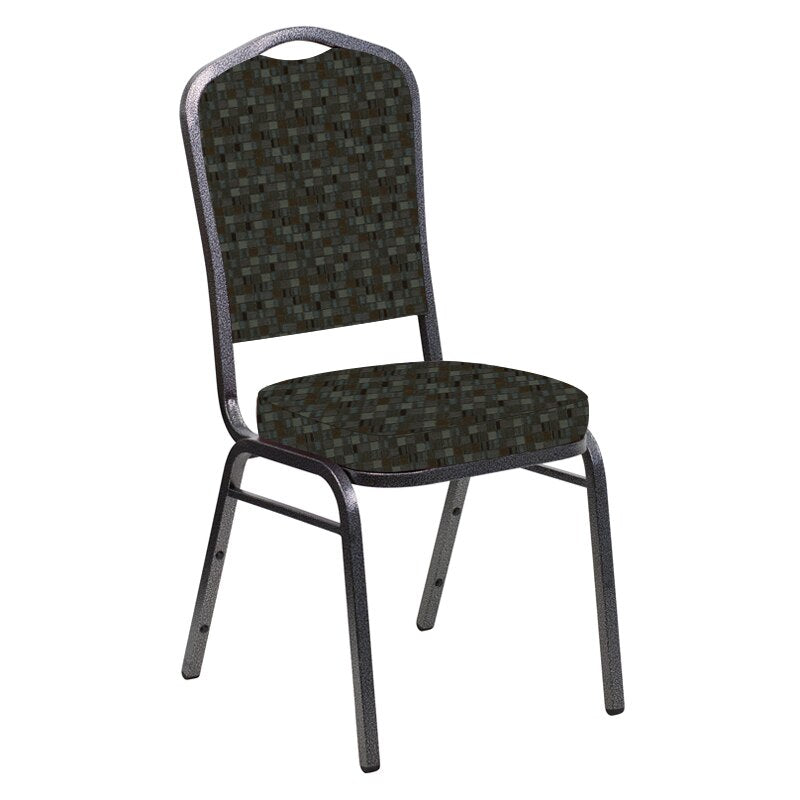 Flash Furniture Crown Back Banquet Chair in Empire Chocaqua Fabric - Silver Vein Frame
