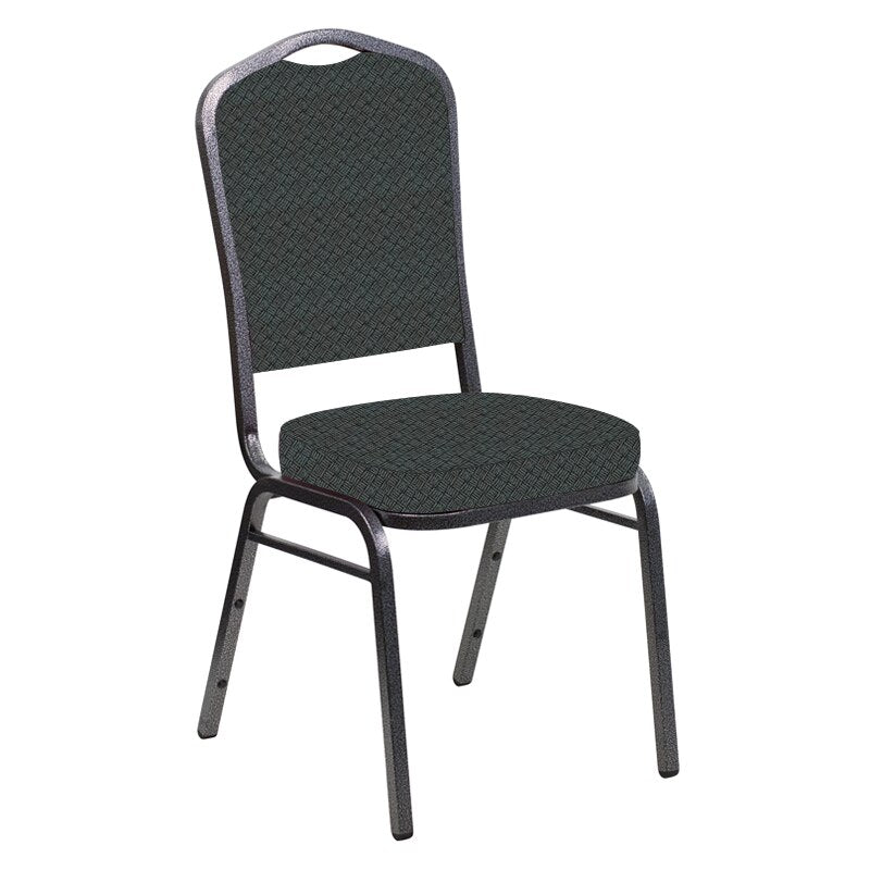 Flash Furniture Crown Back Banquet Chair in Fiji Ash Fabric - Silver Vein Frame