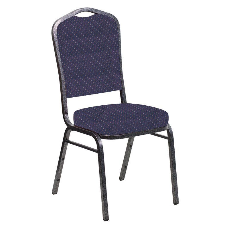 Flash Furniture Crown Back Banquet Chair in Georgetown Plum Fabric - Silver Vein Frame