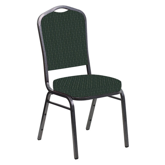 Flash Furniture Crown Back Banquet Chair in Grace Spruce Fabric - Silver Vein Frame
