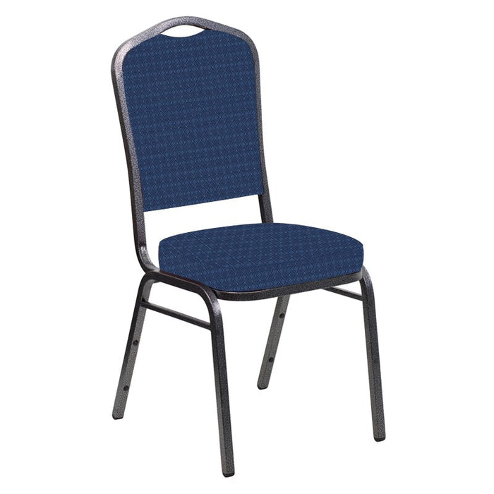 Flash Furniture Crown Back Banquet Chair in Jewel Navy Fabric - Silver Vein Frame