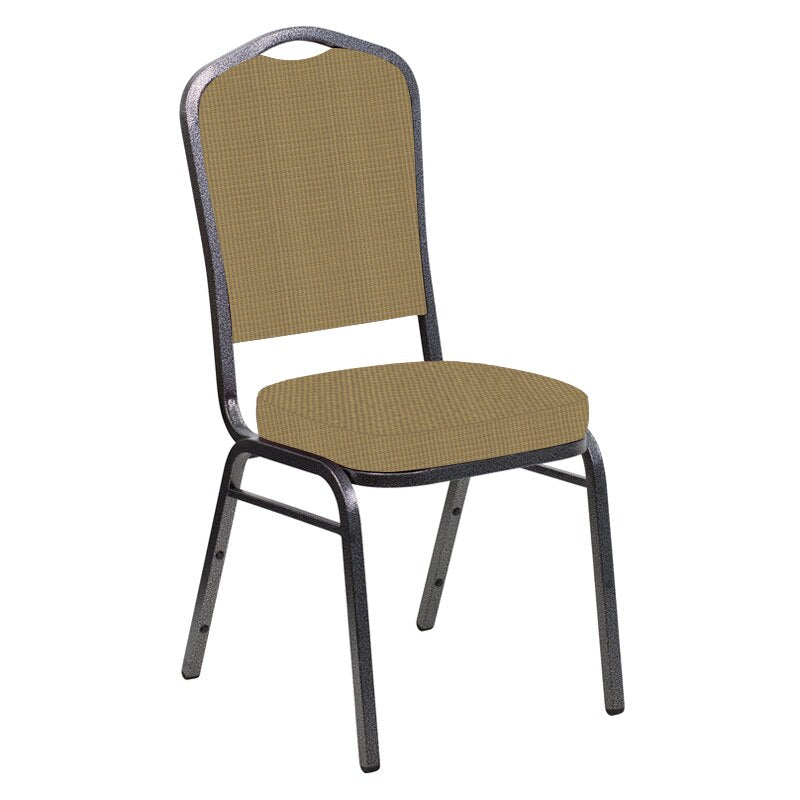 Flash Furniture Crown Back Banquet Chair in Mainframe Brushed Gold Fabric - Silver Vein Frame