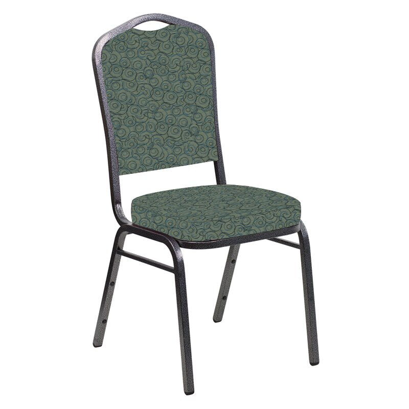 Flash Furniture Crown Back Banquet Chair in Martini Smokey Fabric - Silver Vein Frame