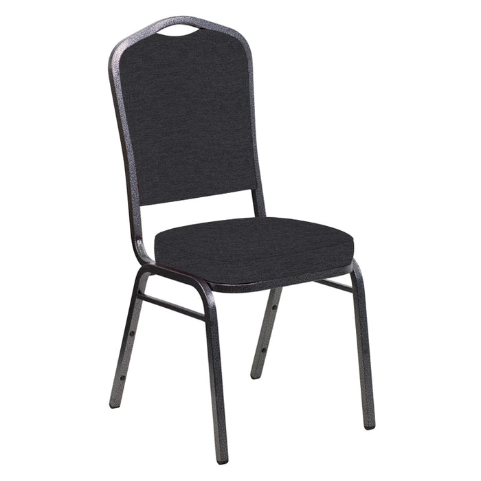 Flash Furniture Crown Back Banquet Chair in Ravine Ebony Fabric - Silver Vein Frame