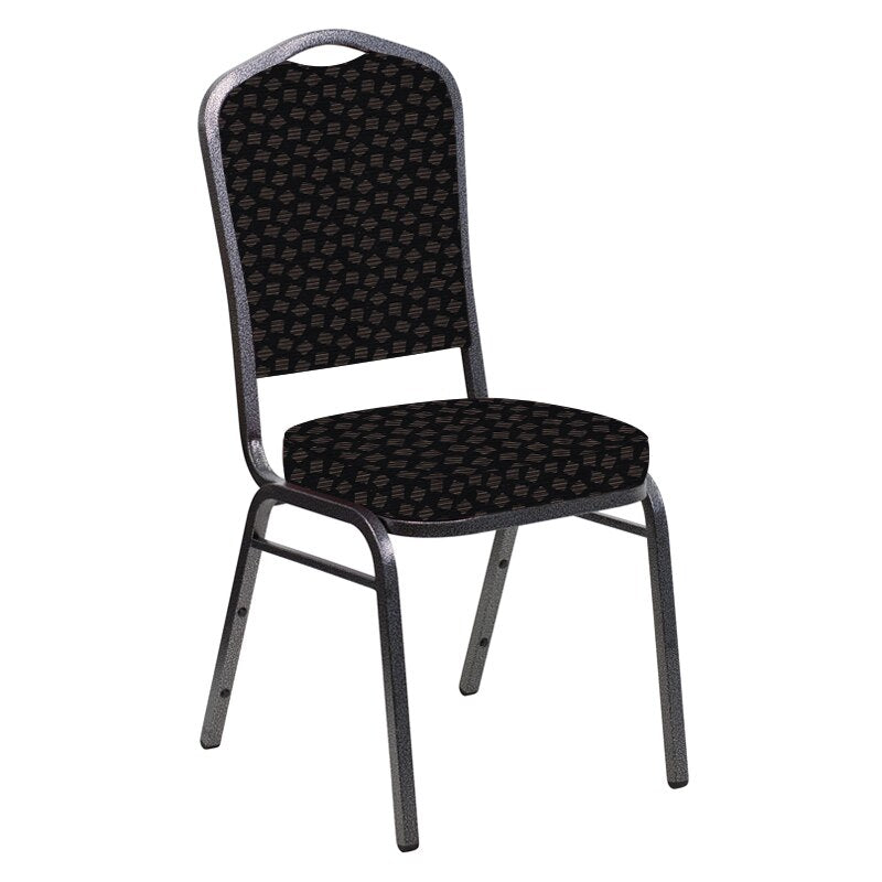 Flash Furniture Crown Back Banquet Chair in Scatter Ferrer Fabric - Silver Vein Frame