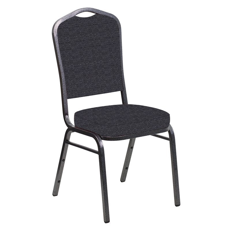 Flash Furniture Crown Back Banquet Chair in Tahiti Licorice Fabric - Silver Vein Frame