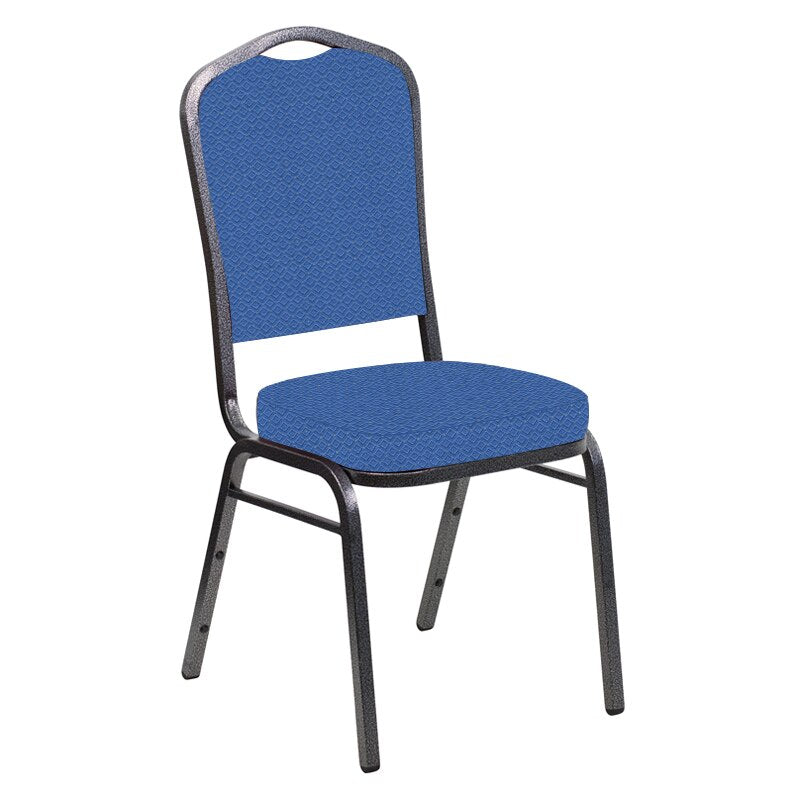 Flash Furniture Crown Back Banquet Chair in Venus Patriot Blue Fabric - Silver Vein Frame