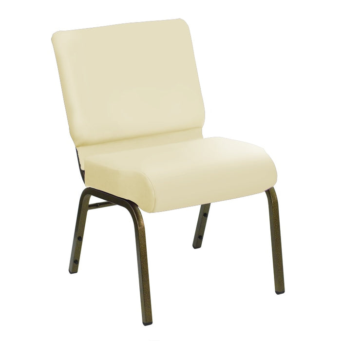 Flash Furniture HERCULES Series 21''W Church Chair in E-Z Sierra White Vinyl - Gold Vein Frame