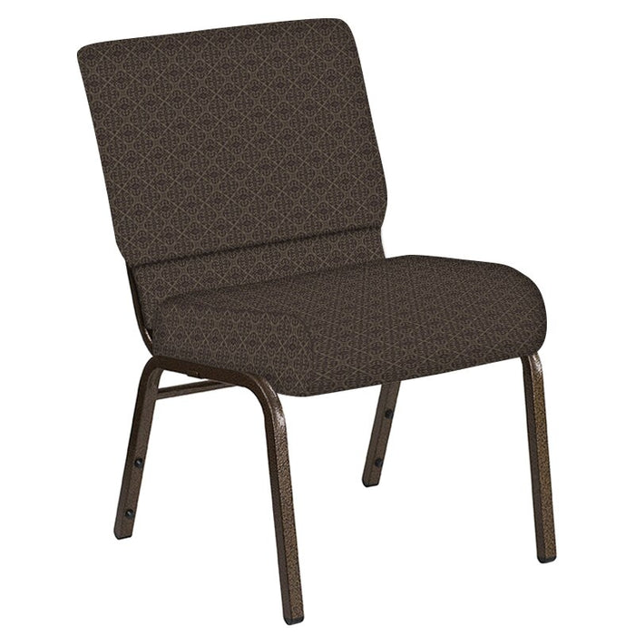 Flash Furniture 21''W Church Chair in Abbey Amethyst Fabric - Gold Vein Frame