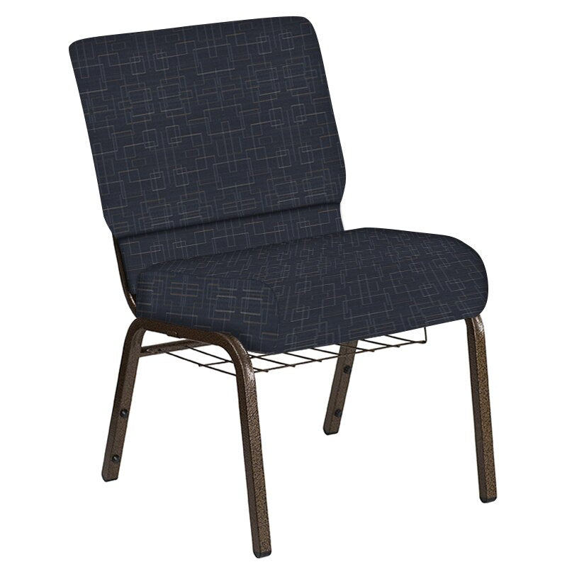 Flash Furniture 21''W Church Chair in Amaze Cobalt Fabric with Book Rack - Gold Vein Frame