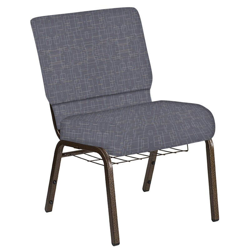 Flash Furniture 21''W Church Chair in Amaze Hazelwood Fabric with Book Rack - Gold Vein Frame