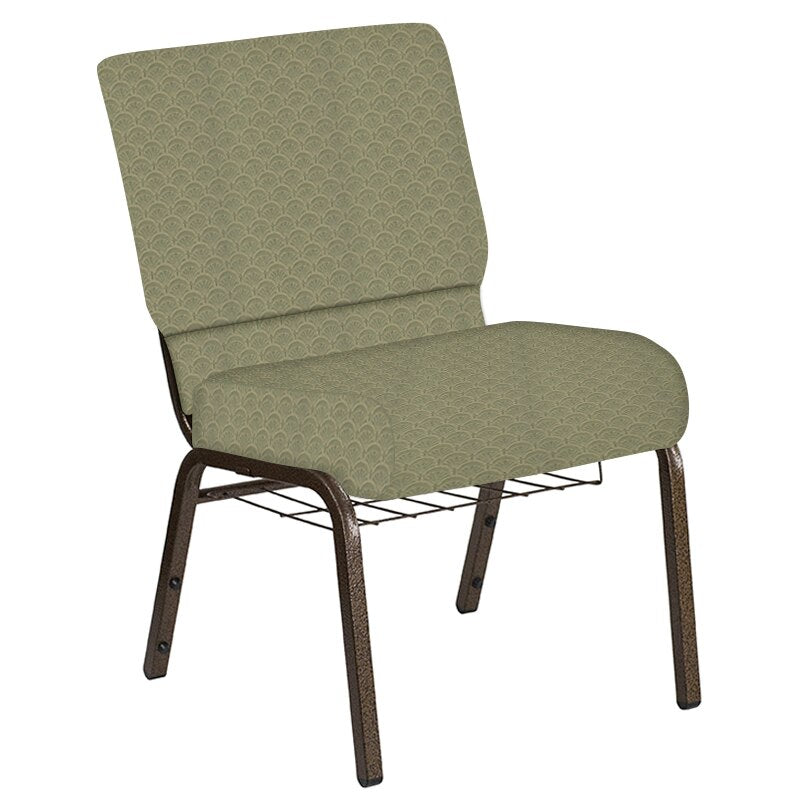 Flash Furniture 21''W Church Chair in Arches Moss Fabric with Book Rack - Gold Vein Frame