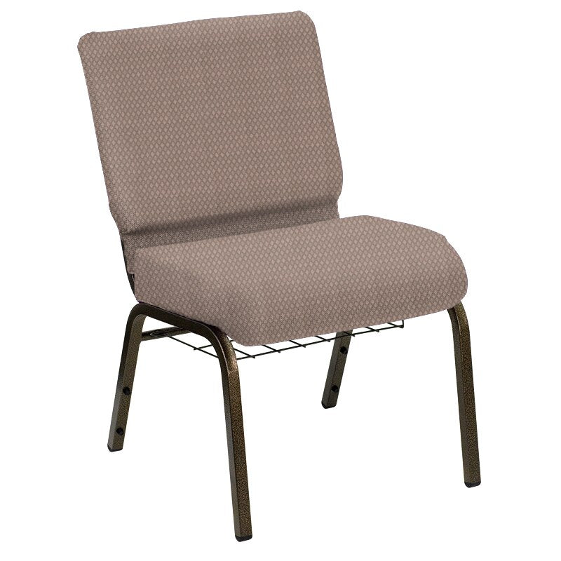 Flash Furniture HERCULES Series 21''W Church Chair in Biltmore Dune Fabric with Book Rack - Gold Vein Frame