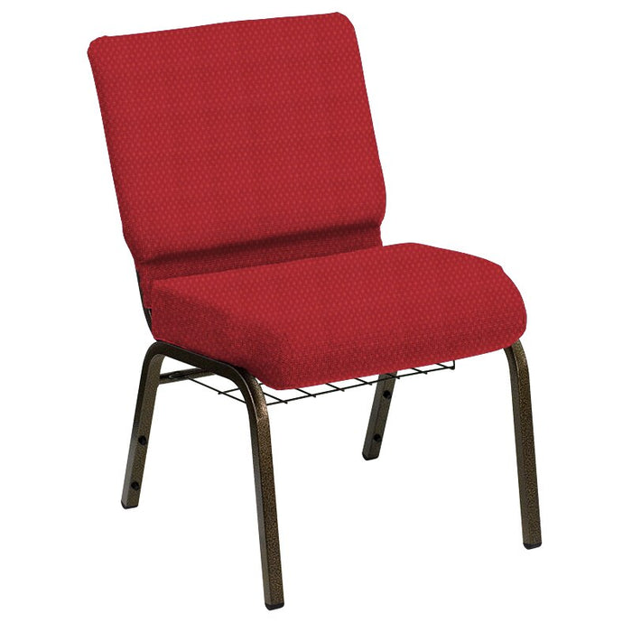 Flash Furniture HERCULES Series 21''W Church Chair in Biltmore Ruby Fabric with Book Rack - Gold Vein Frame