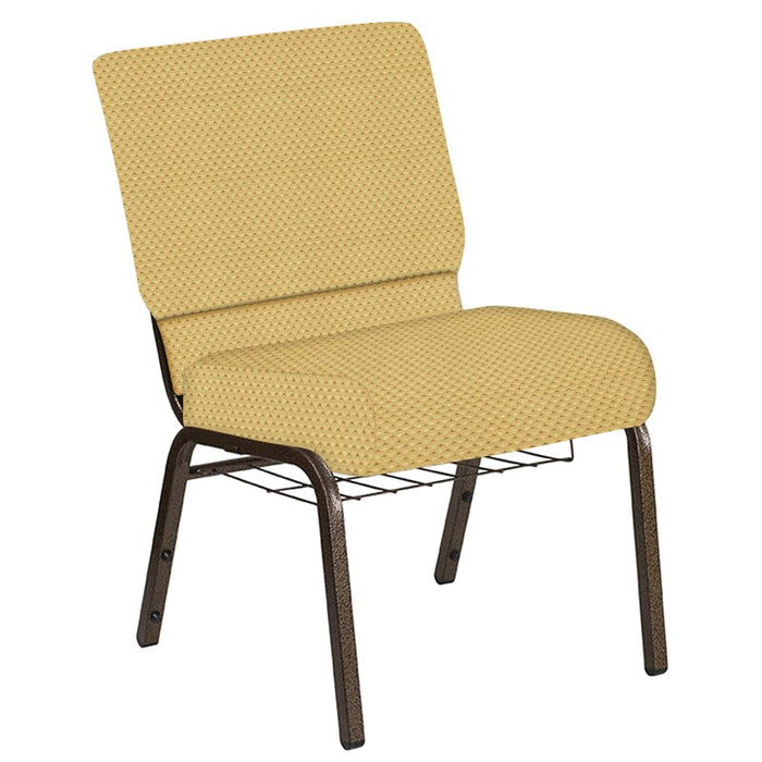 Flash Furniture 21''W Church Chair in Canterbury Taupe Fabric with Book Rack - Gold Vein Frame