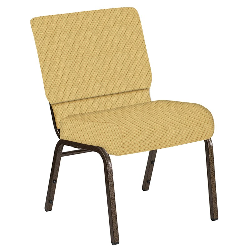 Flash Furniture 21''W Church Chair in Canterbury Taupe Fabric - Gold Vein Frame