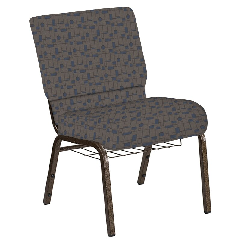 Flash Furniture 21''W Church Chair in Circuit Maple Fabric with Book Rack - Gold Vein Frame