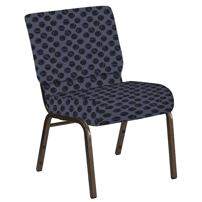 Flash Furniture 21''W Church Chair in Cirque Graphite Fabric - Gold Vein Frame
