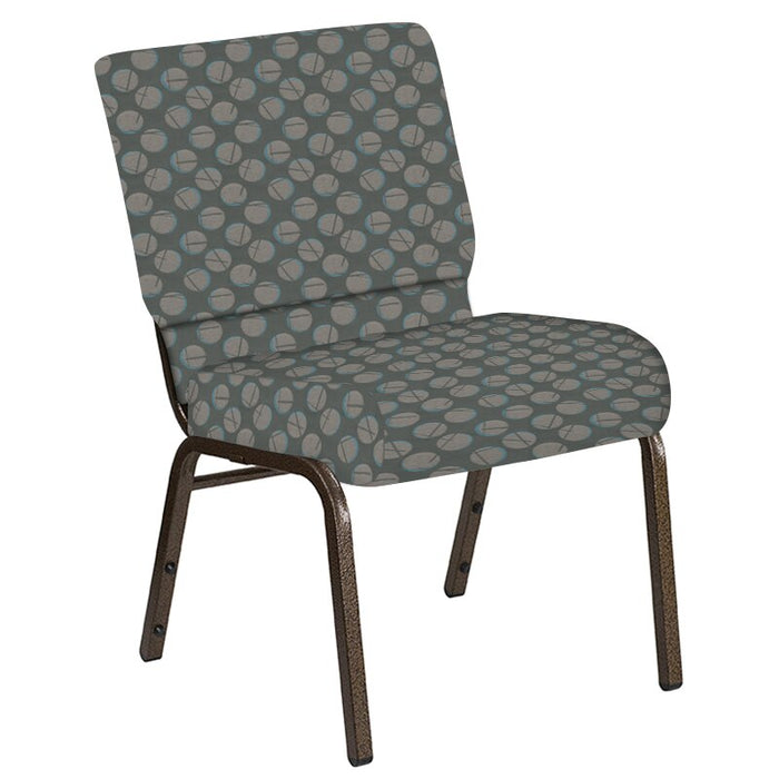 Flash Furniture 21''W Church Chair in Cirque Olive Fabric - Gold Vein Frame