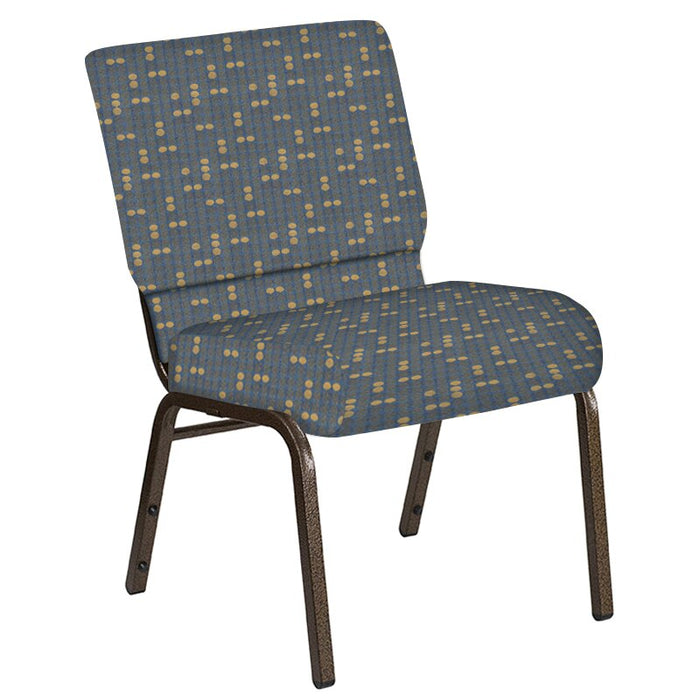 Flash Furniture 21''W Church Chair in Eclipse Sky Fabric - Gold Vein Frame