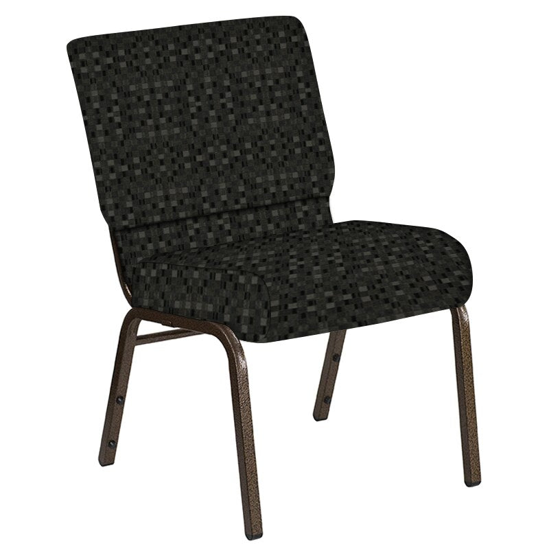 Flash Furniture 21''W Church Chair in Empire Pewter Fabric - Gold Vein Frame