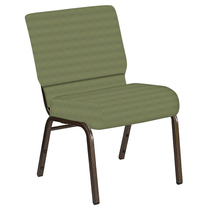 Flash Furniture 21''W Church Chair in Harmony Sea Green Fabric - Gold Vein Frame