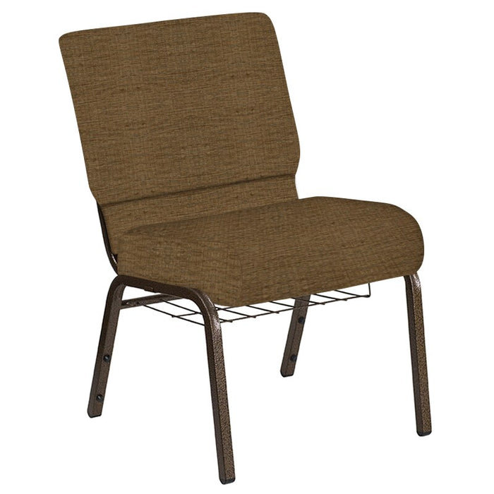 Flash Furniture 21''W Church Chair in Highlands Chocolate Fabric with Book Rack - Gold Vein Frame
