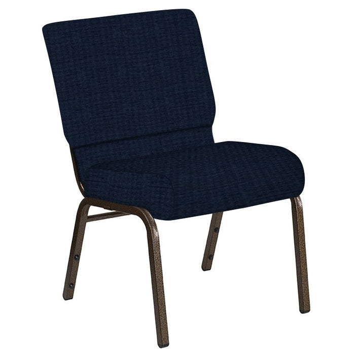 Flash Furniture 21''W Church Chair in Highlands Navy Fabric - Gold Vein Frame