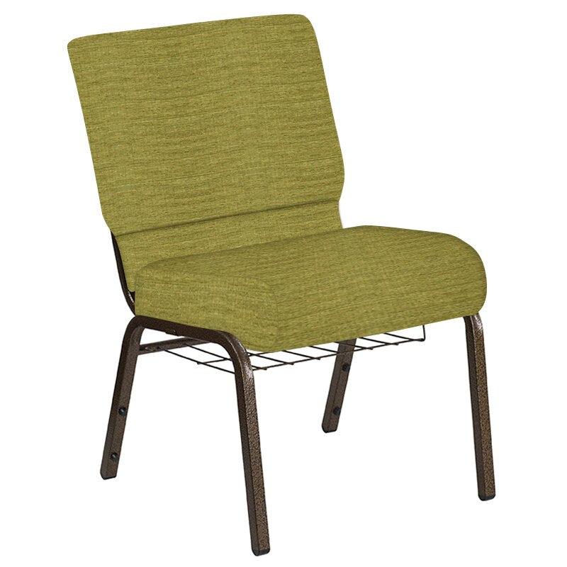 Flash Furniture 21''W Church Chair in Highlands Stone Fabric with Book Rack - Gold Vein Frame