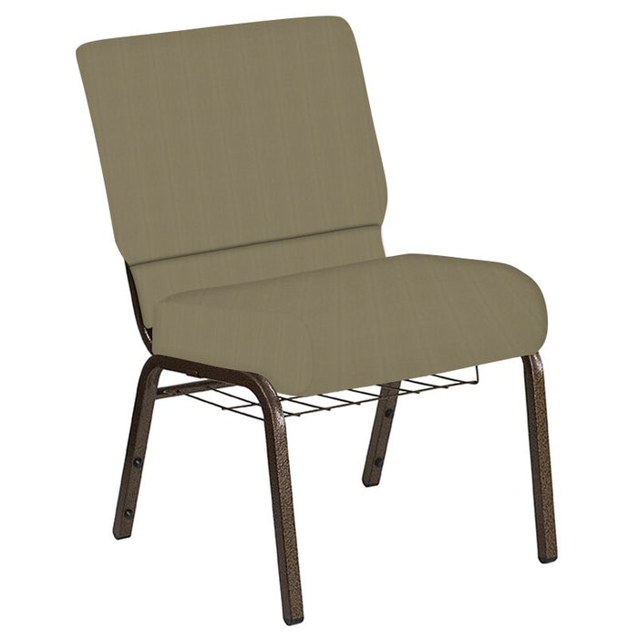 Flash Furniture 21''W Church Chair in Illusion Chic Tan Fabric with Book Rack - Gold Vein Frame