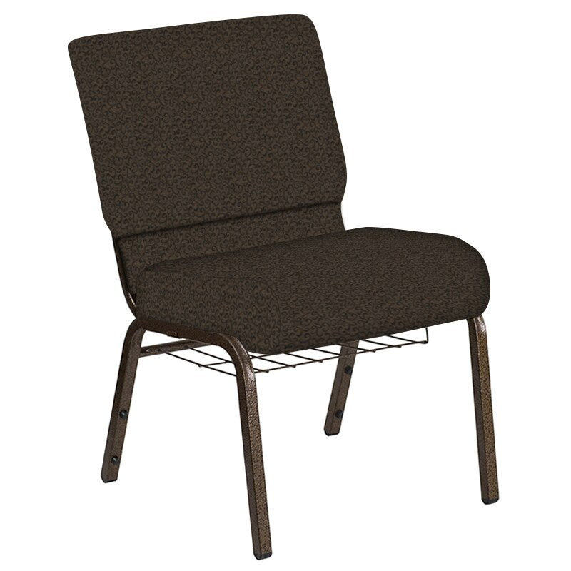Flash Furniture 21''W Church Chair in Lancaster Chocolate Fabric with Book Rack - Gold Vein Frame