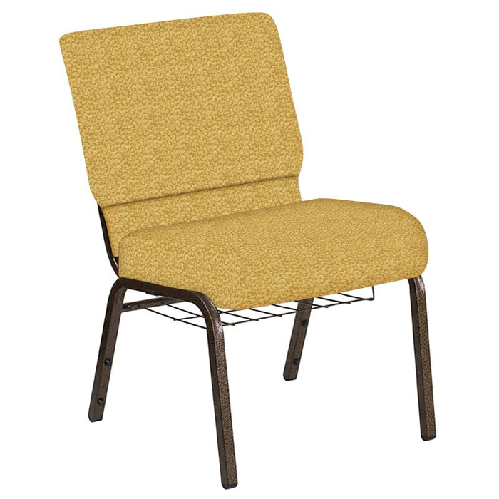 Flash Furniture 21''W Church Chair in Lancaster Khaki Fabric with Book Rack - Gold Vein Frame