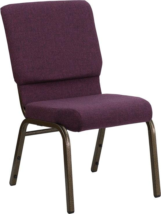 Flash Furniture FD-CH02185-GV-005-GG HERCULES Series 18.5''W Stacking Church Chair in Plum Fabric - Gold Vein Frame